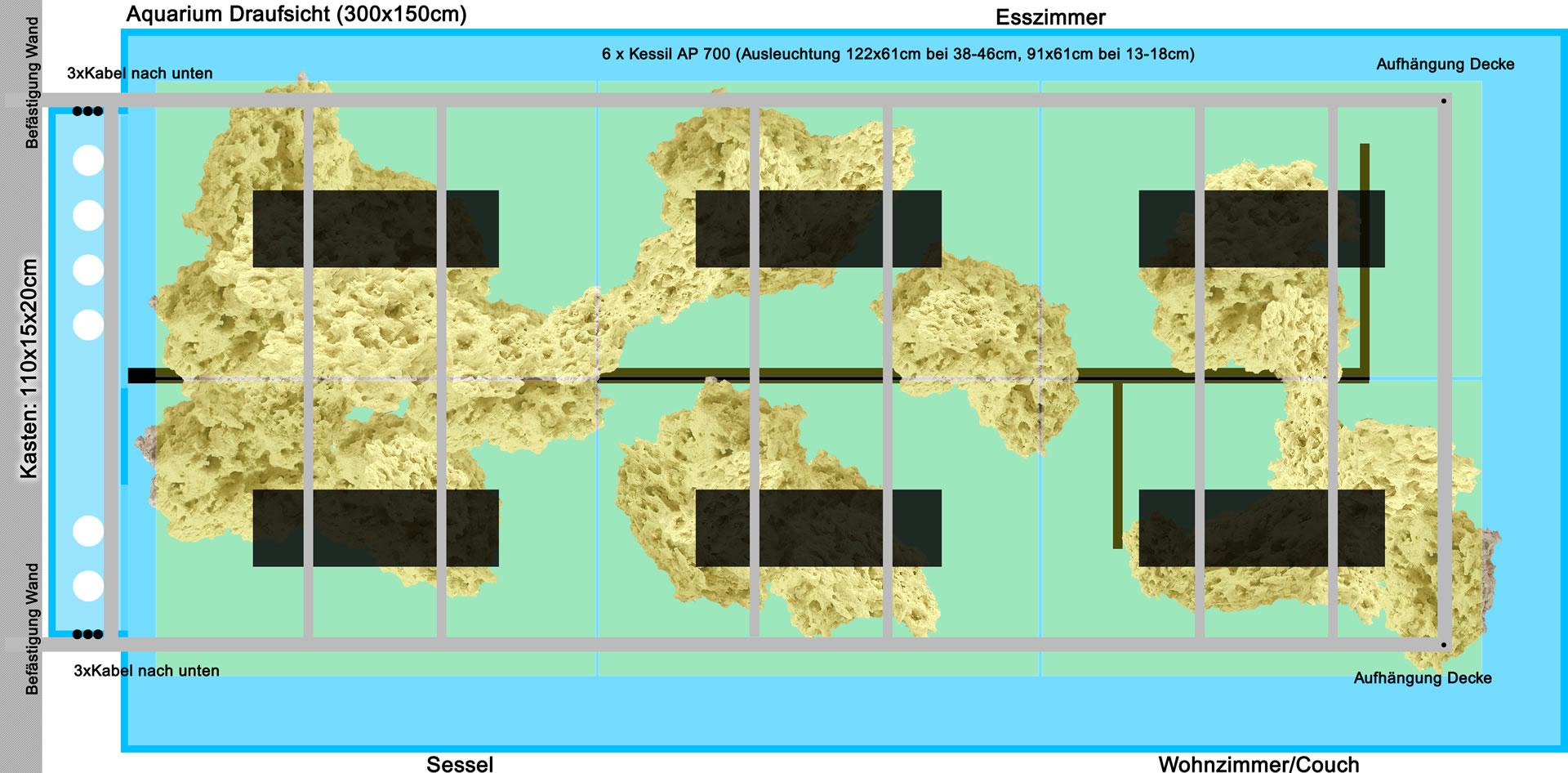 Überlegung Rahmen, Kabelführung und Ausleuchtung mit Kessil AP 700
